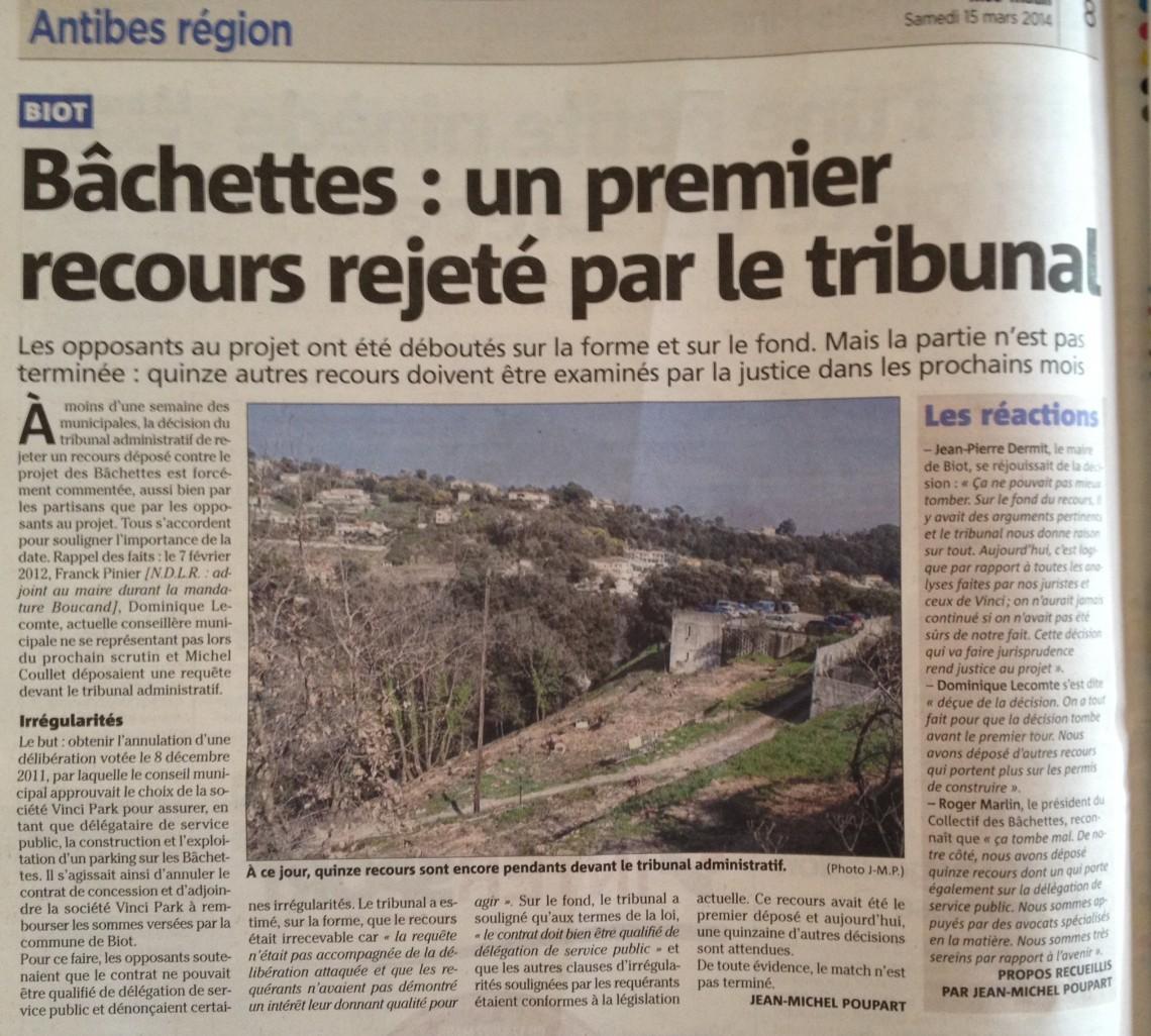 @NICE-MATIN Antibes - Samedi 15 mars 2014 - Article Bâchettes Un premier recours rejeté par le tribunal