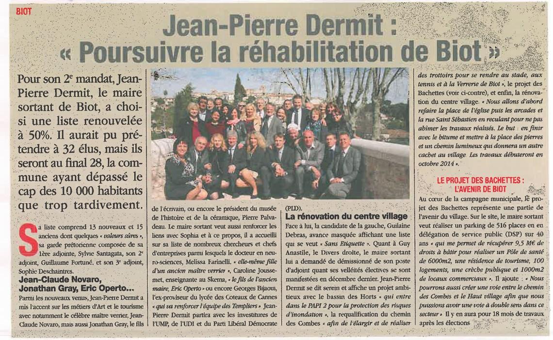 LE PETIT NICOIS du 14 au 20 mars 2014 - Jean-Pierre DERMIT - Poursuivre la réhabilitation de Biot
