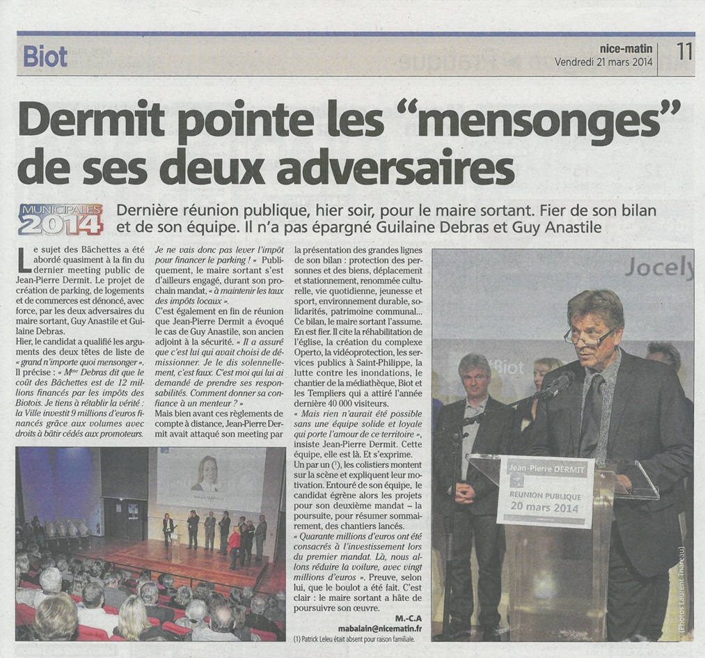 Nice-Matin édition Antibes du 21 mars 2014 - DERMIT pointe les mensonges de ses deux adversaires