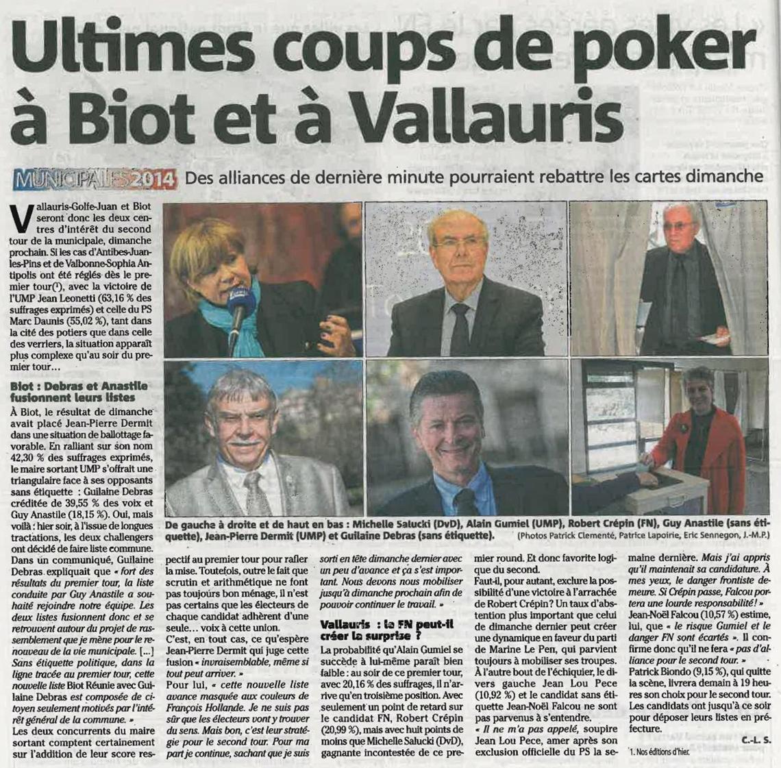 ©Nice-Matin du 25 mars 2014 - Ultimes coups de poker à Biot et Vallauris