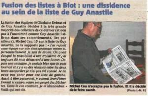 Nice-Matin édition Antibes 27 mars 2014 - Fusion des listes à Biot - Dissidence au sein de la liste de Guy Anastile