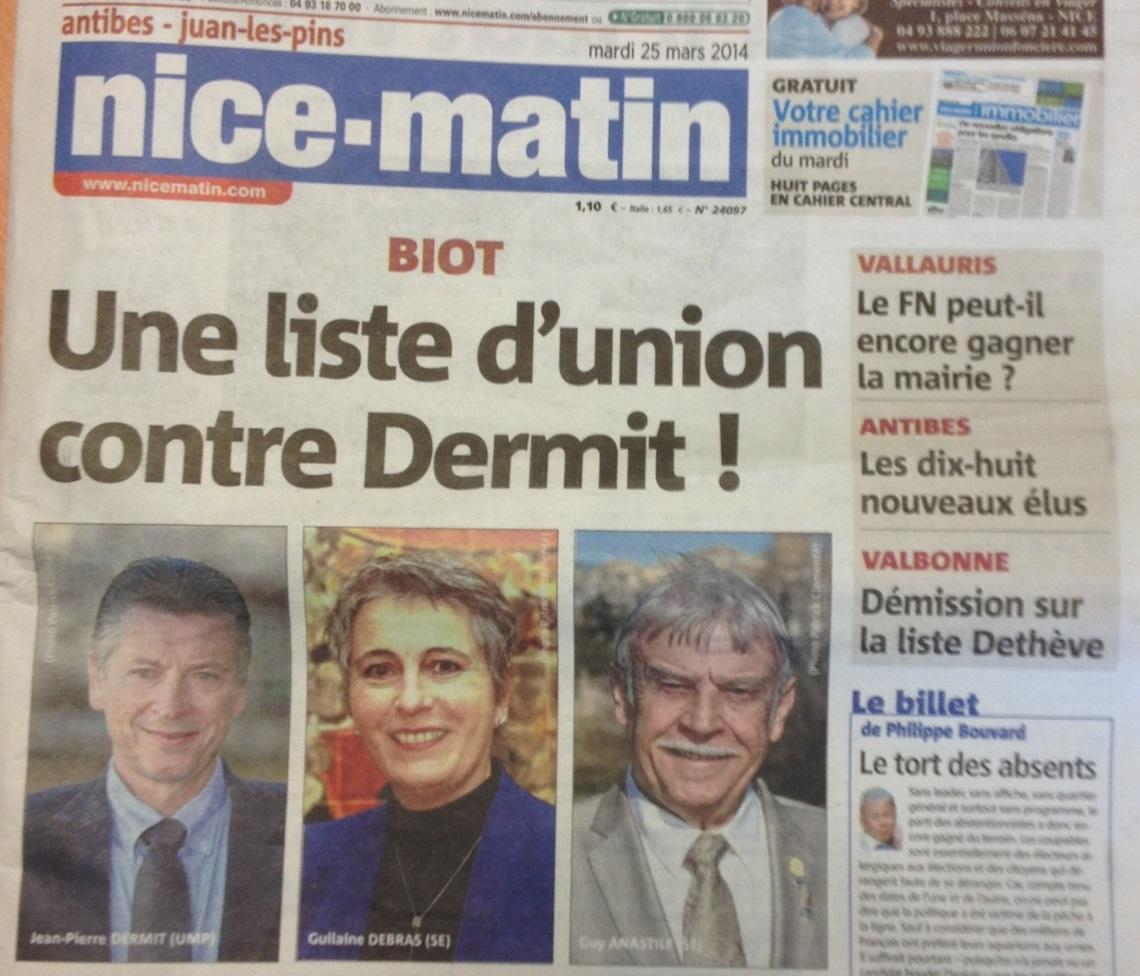 ©Nice-matin - Une liste d'union contre DERMIT - 25 mars 2014