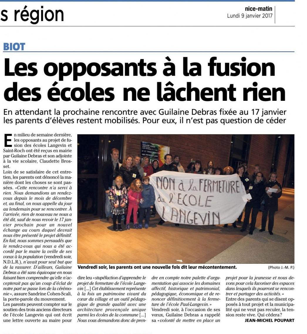Les parents d'élèves s'invitent aux voeux de Madame Debras! - Nice Matin 09/01/2017
