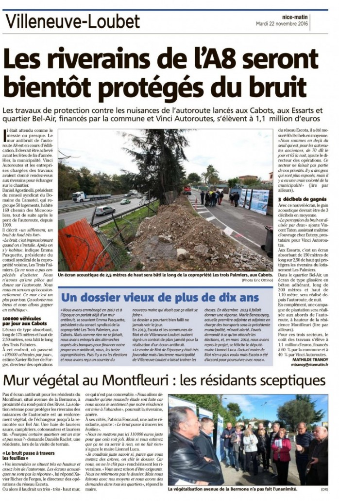 Le bruit n'est pas une priorité pour la maire de Biot! - Nice Matin 22/11/2016.
