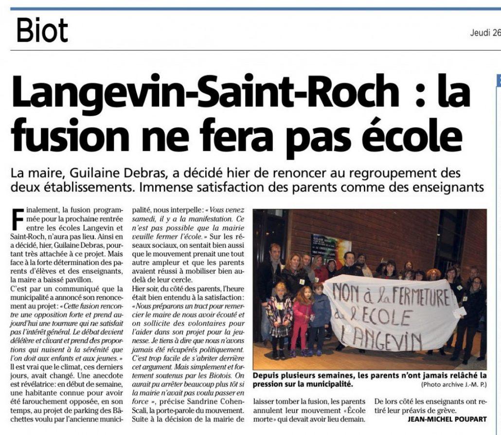 La Maire baisse pavillon devant la mobilisation des parents d'élèves et enseignants | Nice-Matin du 26/01/2017